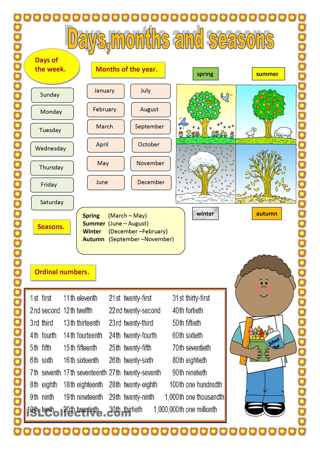 Days Months And Seasons Seasons Worksheets Months In English English Worksheets For Kindergarten [ 1440 x 1018 Pixel ]