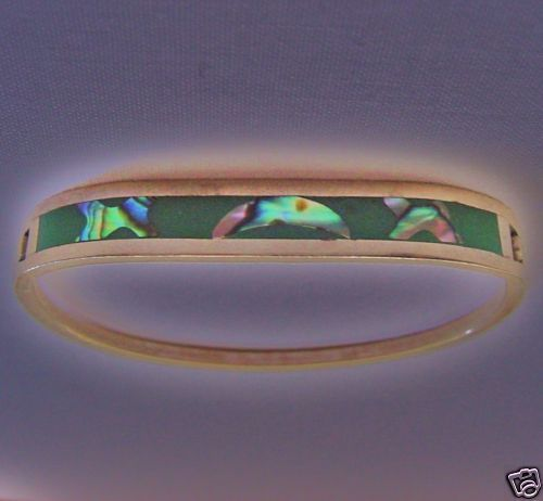 Gorgeous IRIDESCENT Mother of Pearl or ABALONE Sterling Silver BRACELET Vintage
