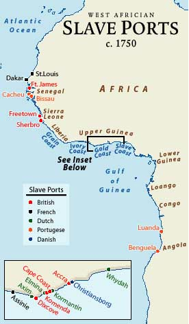 Slave Ports in West Africa in 1750  moviesmusic  Pinterest