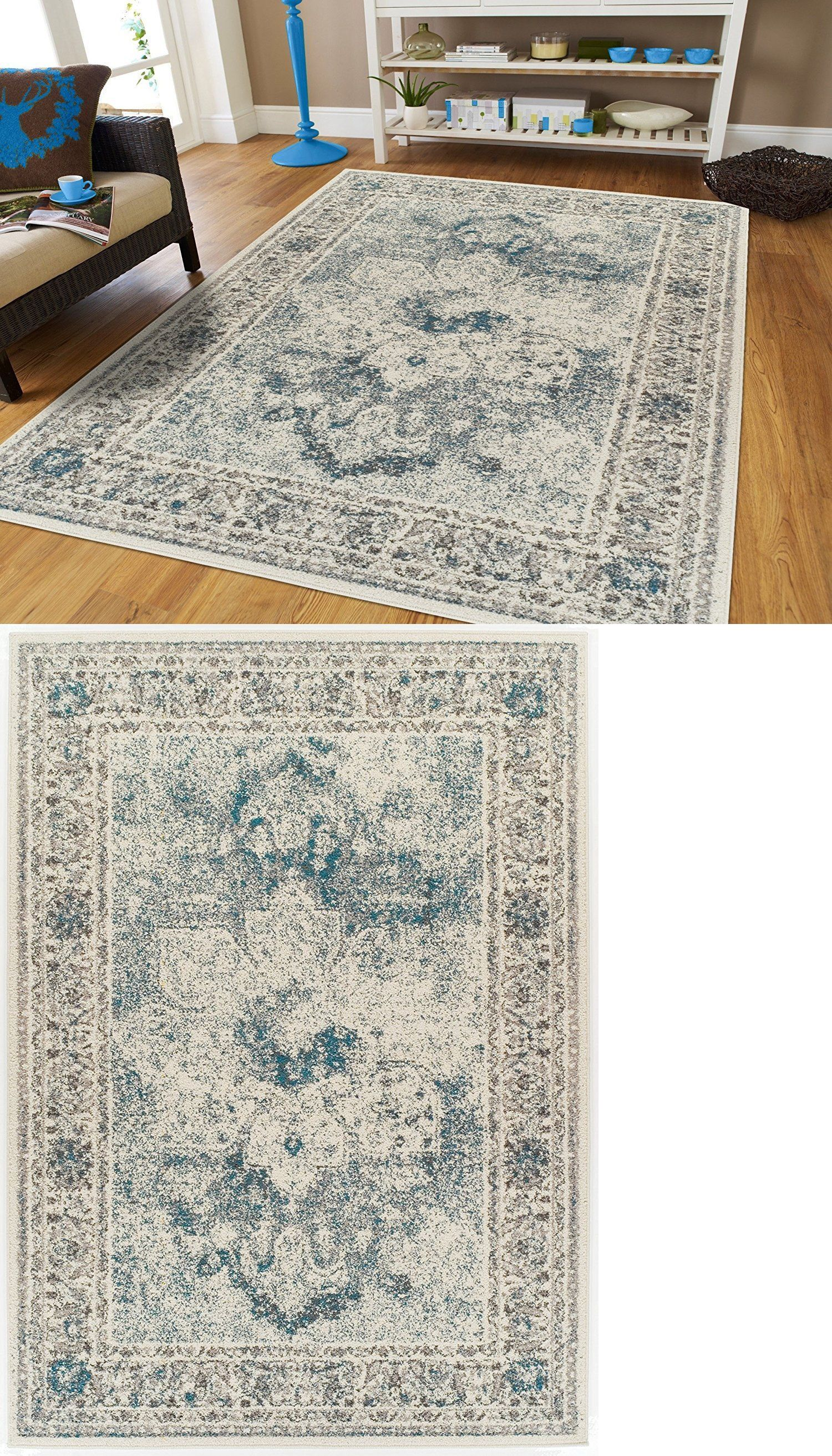 Living Room Rugs 8x10 Pictures Of Apartment Rooms Area 45510 Distressed Cream Blue Rug 5x7 Runner 2x8 Buy It Now Only 99 98 On Ebay