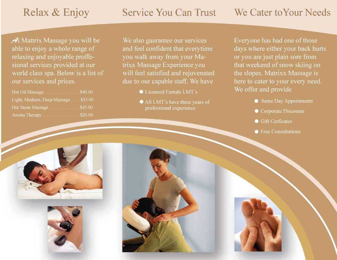 Massage Therapy Brochures  Massage Brochure Continued By