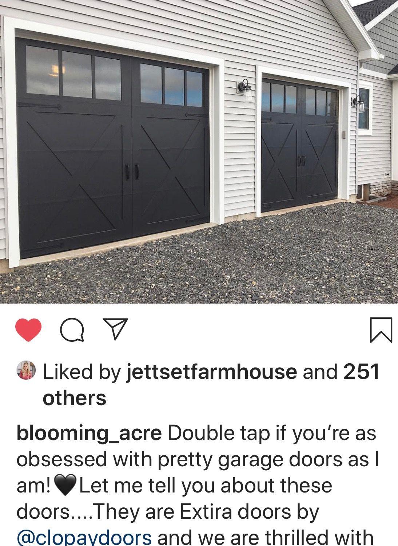 Love These Garage Doors Seeded Glass Windows With Cross Buck Details Garage Doors Pretty Garage Doors House Exterior