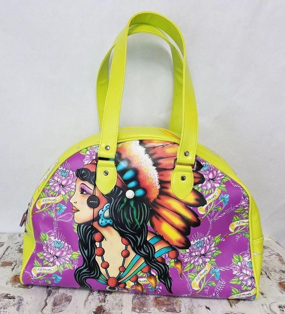 9d9d3221d3ac Ed Hardy True Love Handbag XL Purse Bowling Weekender Overnight Bag yellow  lime  EdHardy  Weekender