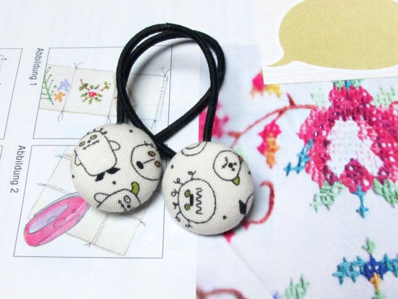 Check out this item in my Etsy shop https://www.etsy.com/listing/245563683/button-ponytail-holders-halloween