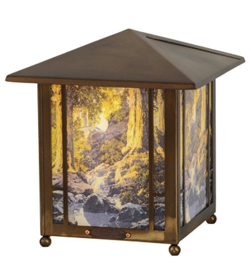 "Maxfield Parrish The Glen Lantern 13.5"" H Table Lamp with Rectangular Shape"