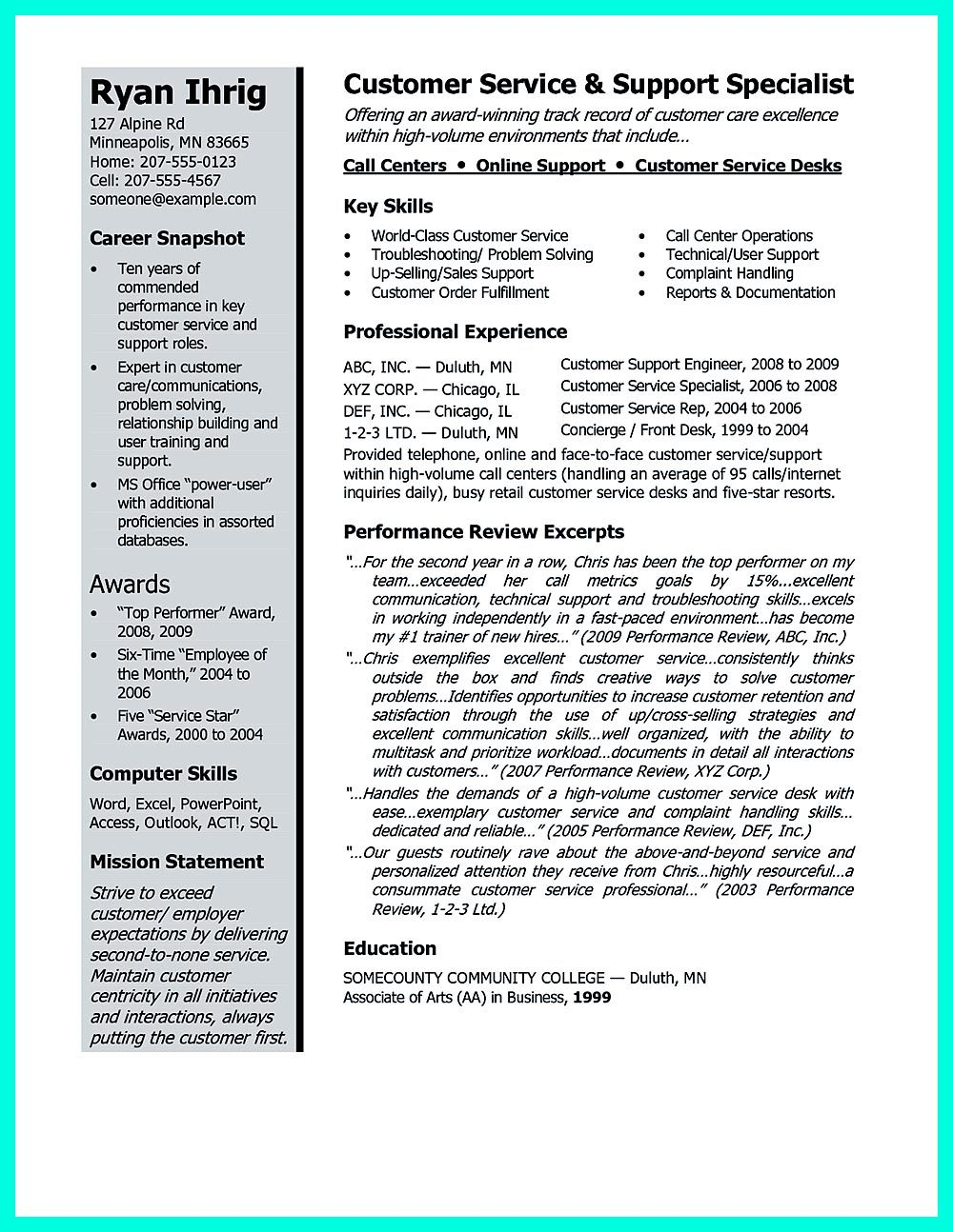 csr resume or customer service representative resume  include the job aspects where it showcase