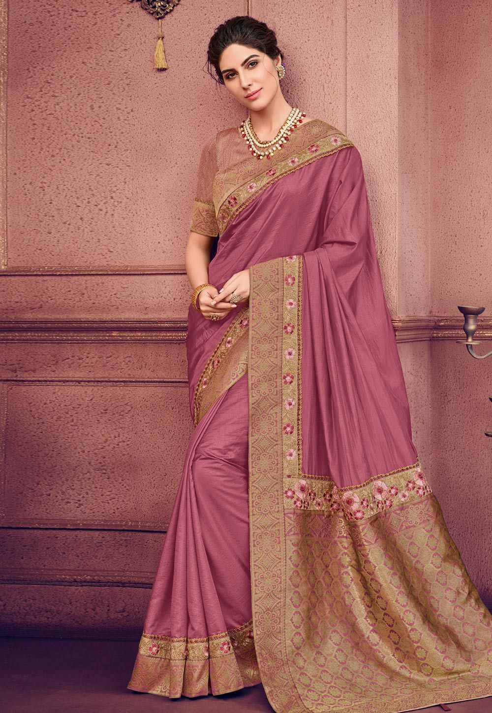 7aed5009ef Buy Pink Silk Festival Wear Saree 160934 with blouse online at lowest price  from vast collection of sarees at Indianclothstore.com.