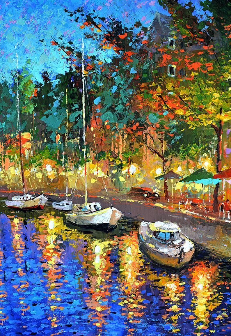 Night CAFE Original oil painting on canvas cityscene urban boats night restaurant wall artwork