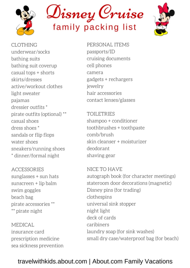 Free Printable Packing List for Disney Cruises | Cruises and Free ...