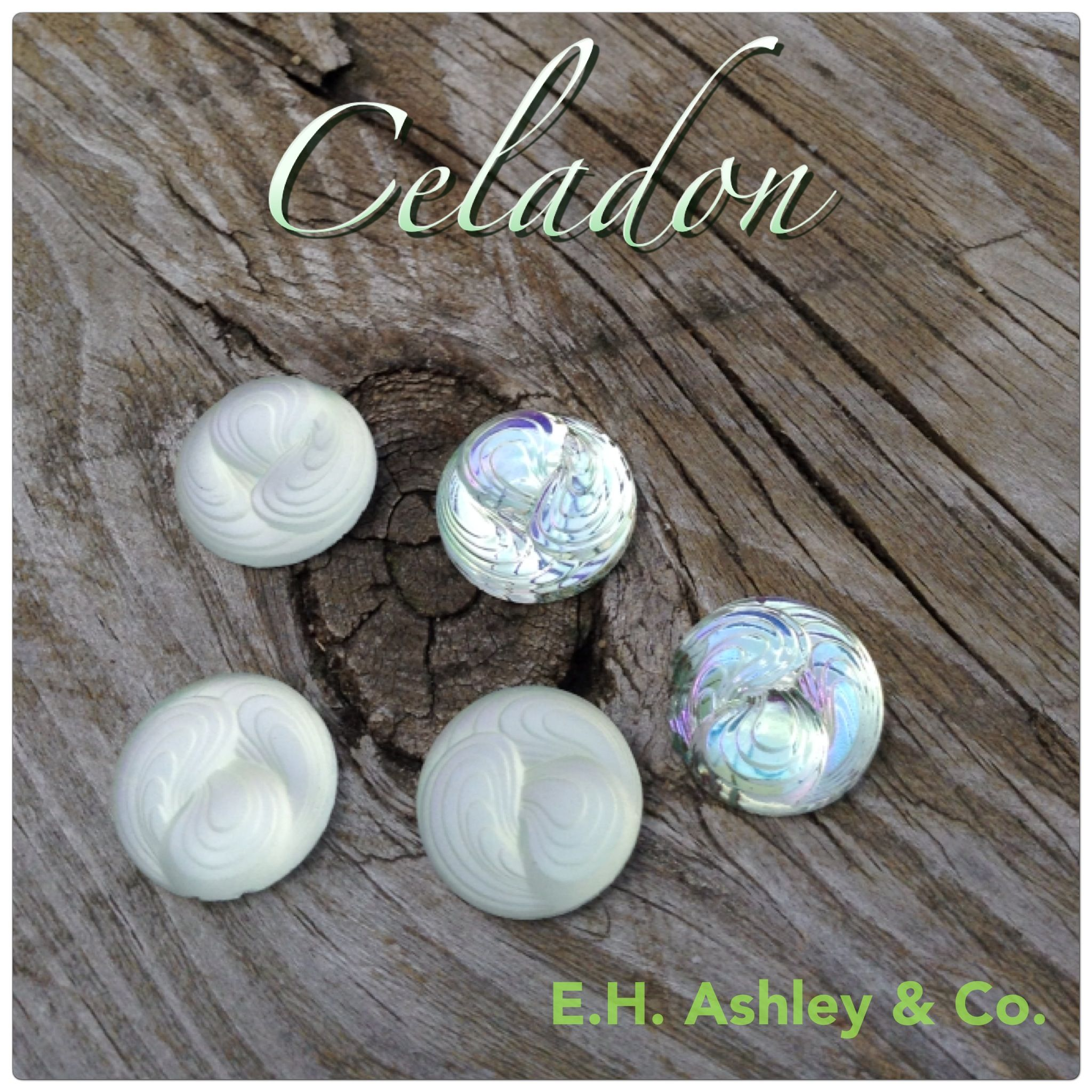 E.H. Ashley's newest Cabochon! Article 13216 18mm BRIGHT & MATT shown in our Exclusive Custom Coating CRYSTAL CELADON www.ehashley.com #cabochon #customcoating #celadon