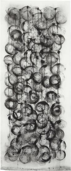 ROBIN RHODE Untitled 2006  charcoal and ink on paper 106 x 45 in. (269.2 x 114.3 cm.) This work is accompanied by a certificate of authenticity signed by the artist.