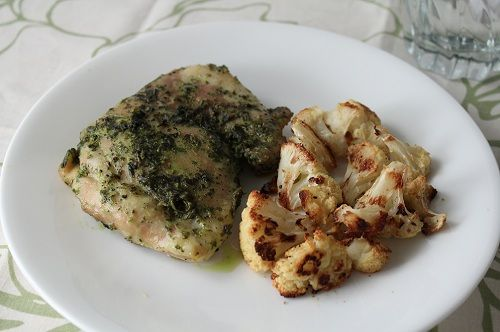 Herb Pesto Chicken with Roasted Cauliflower