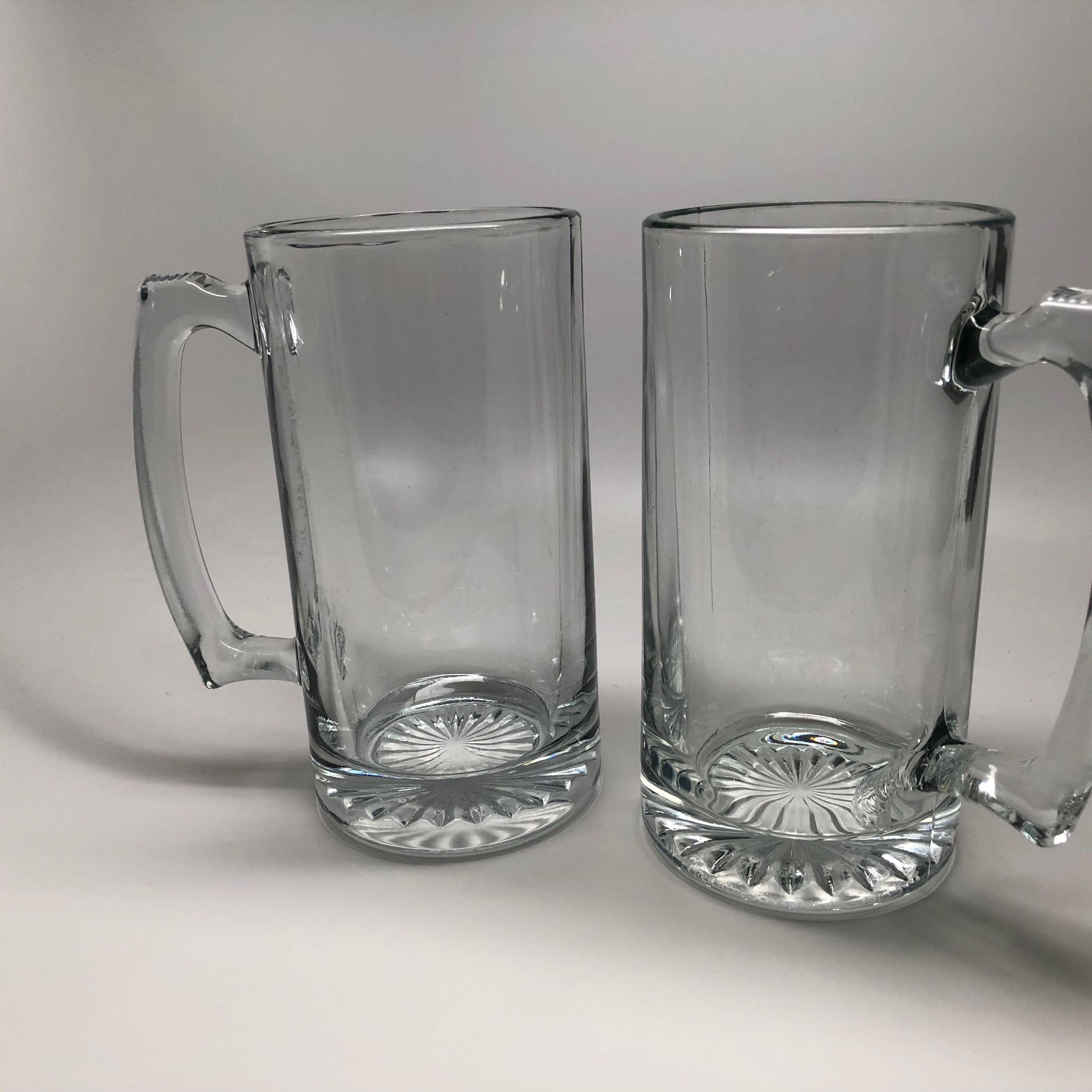 2 Large Glass Mugs Glass Beer Mugs Mugs Beer Glass
