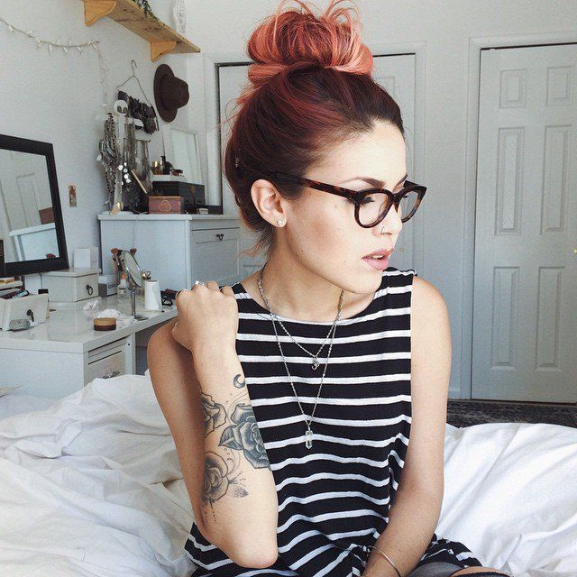 Red Dyed Hairstyle with Bun