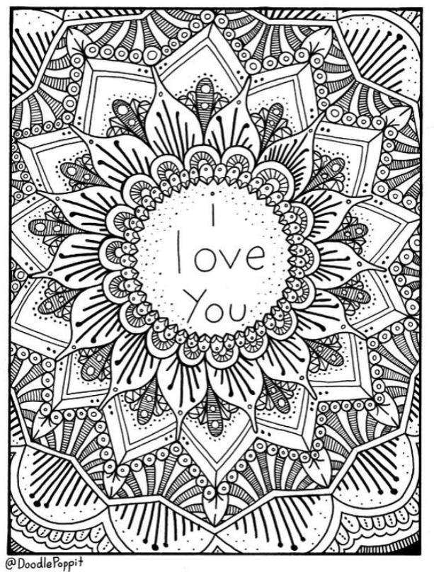 Items Similar To I Love You Coloring Page – Creative Coloring En 2020  Mandalas Para Colorear, Hojas Para Colorear, Mandalas