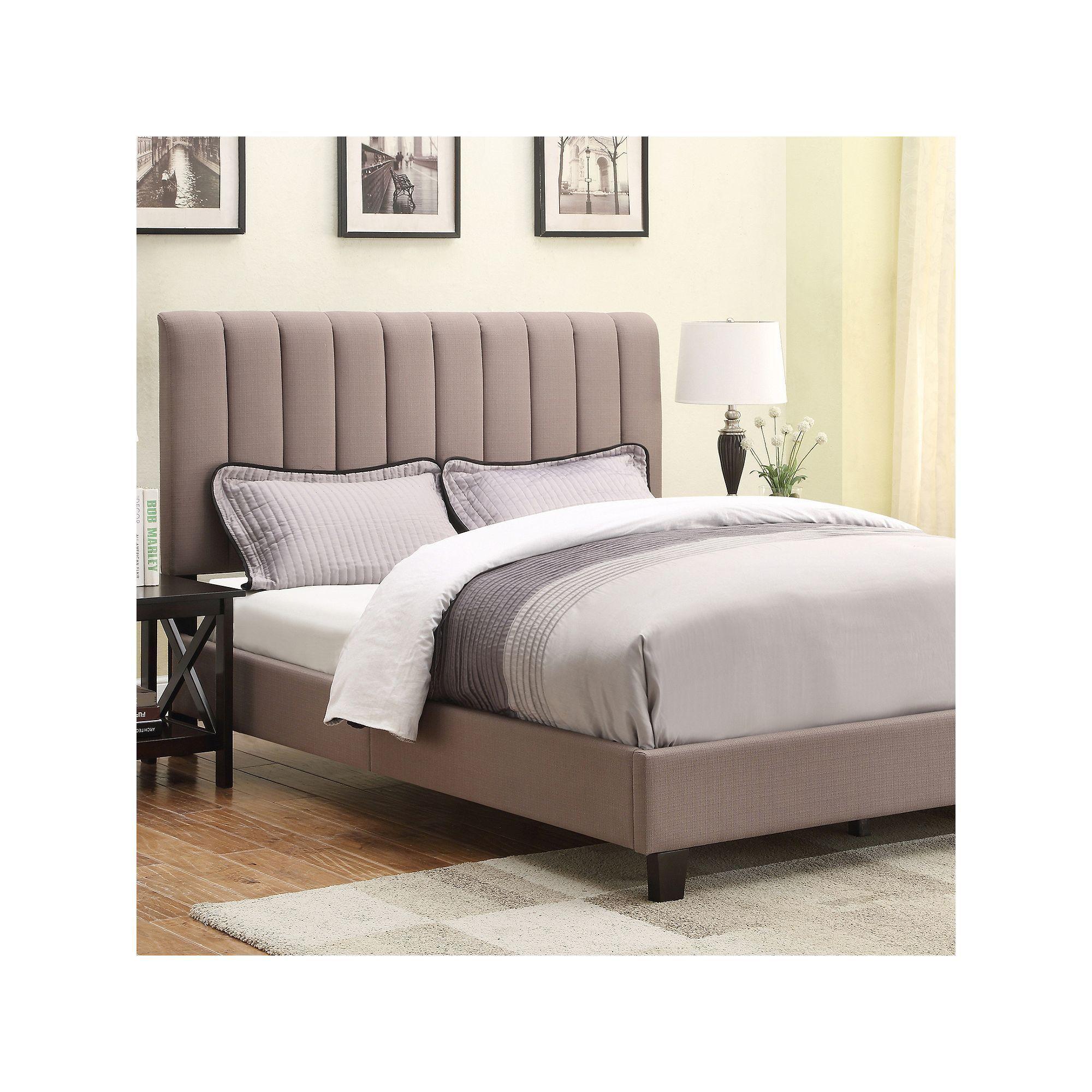 Queen Upholstered Bed Beig Green Beig Khaki King Size Bedroom