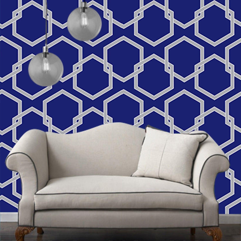 Temporary Wallpaper Honey Comb Metallic Silver/Deep