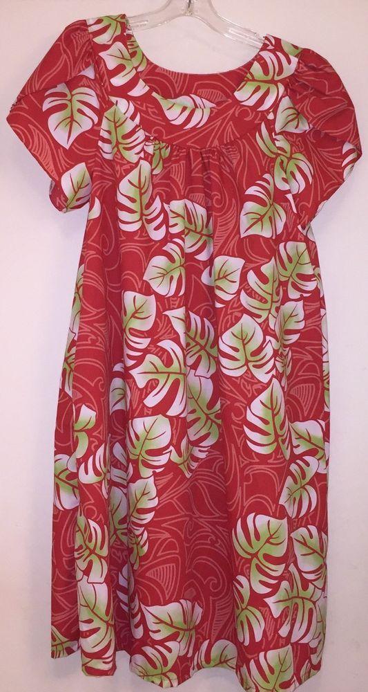 NWOT Y Not Hawaii Womens Hawaiian Monstera Red Muu Muu House Dress ...