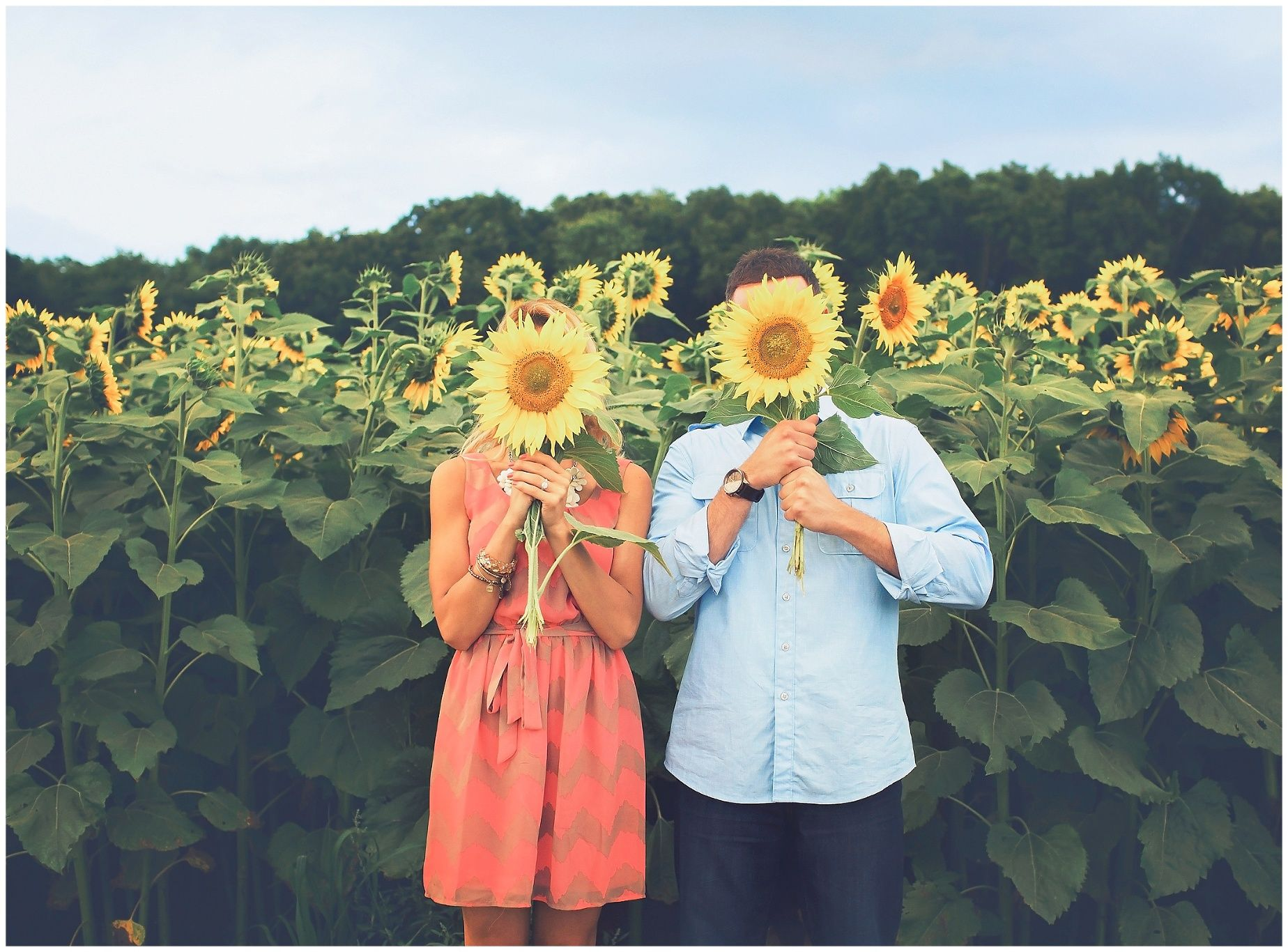 Fun, funny outdoor engagement portrait of the bride and groom to be holding sunflowers at the sunflower fields   Photo by Massart Photography, RI MA CT