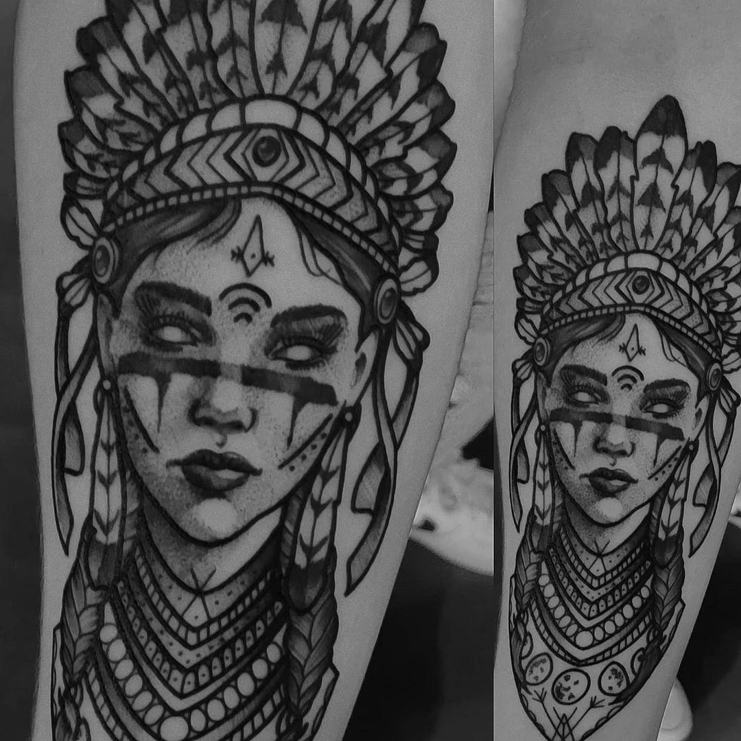 """Garçonnes Tattoo & Piercing on Instagram: """"Evil Native American by @juliexmarteau * * #tattoo #tattoos #tattooed #tattooparlour #tattooshop #tattooartistmagazine #blackworkers…"""""""