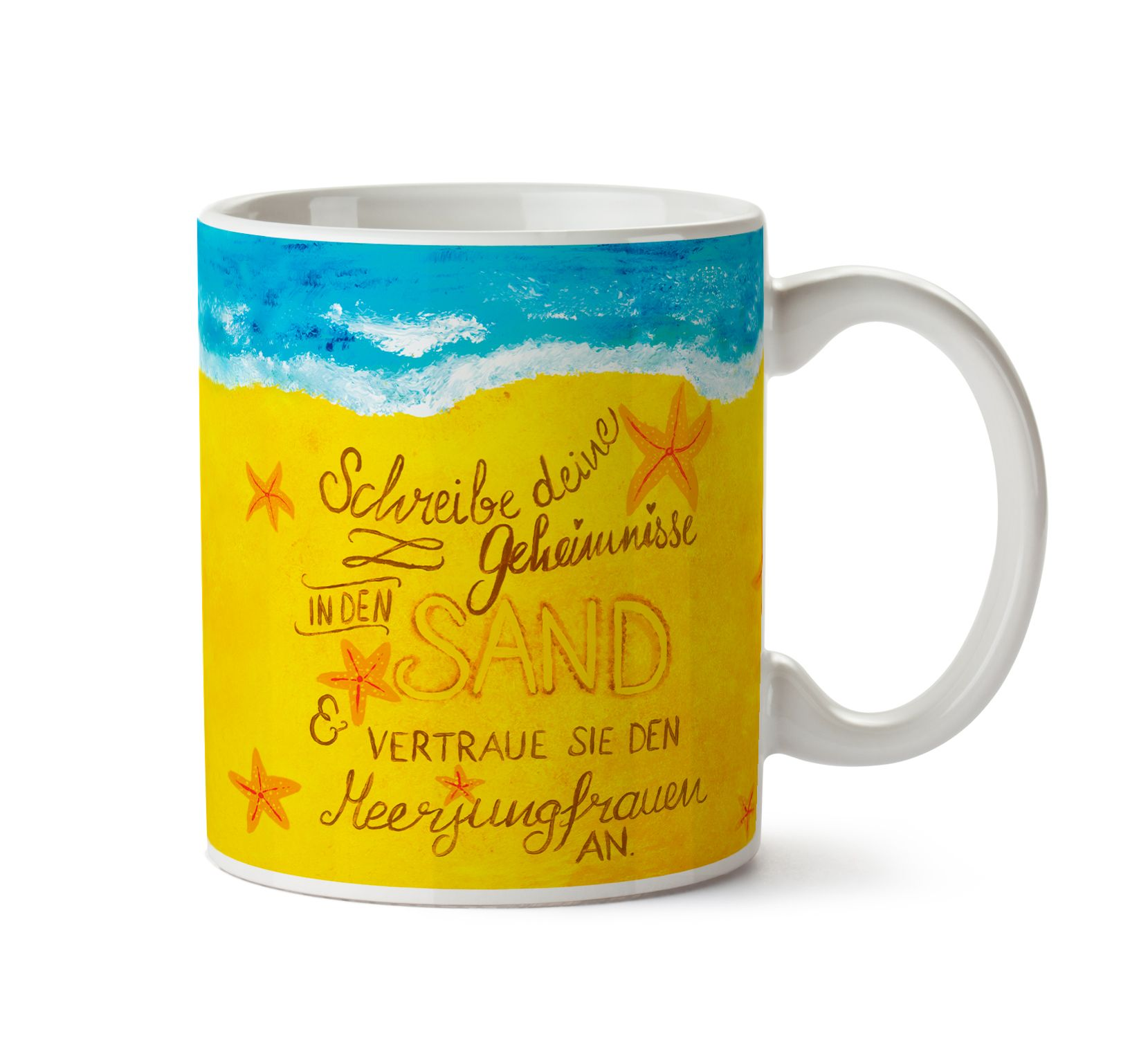 Tasse Geheimnisse Meerjungfrauen  aus Keramik  Weiß - Das Original von Mr. & Mrs. Panda.  Eine wunderschöne spülmaschinenfeste Keramiktasse (bis zu 2000 Waschgänge!!!) aus dem Hause Mr. & Mrs. Panda, liebevoll verziert mit handentworfenen Sprüchen, Motiven und Zeichnungen. Unsere Tassen sind immer ein besonders liebevolles und einzigartiges Geschenk. Jede Tasse wird von Mrs. Panda entworfen und in liebevoller Arbeit in unserer Manufaktur in Norddeutschland gefertigt.     Über unser Motiv…