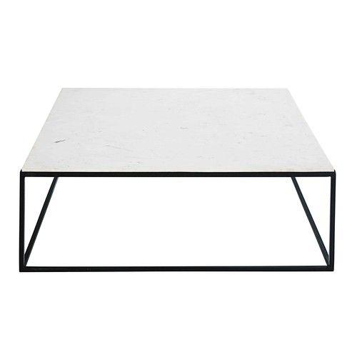 marble table basse carre en marbre blanc et mtal noir