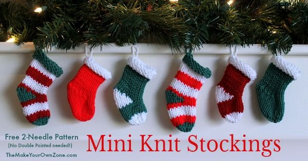 Mini Knit Stockings For 2 Needles Free Knitting Pattern