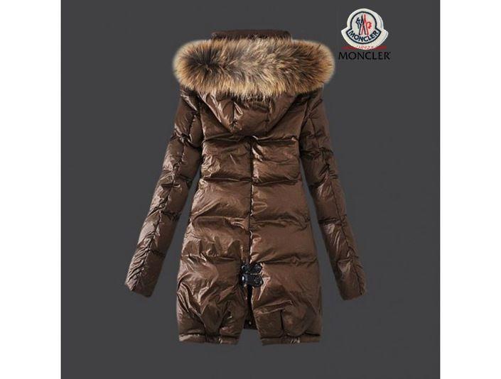 online store a595d fa004 jacke sale Moncler Damen Chic braun Lange Daunen mantel Pelz ...
