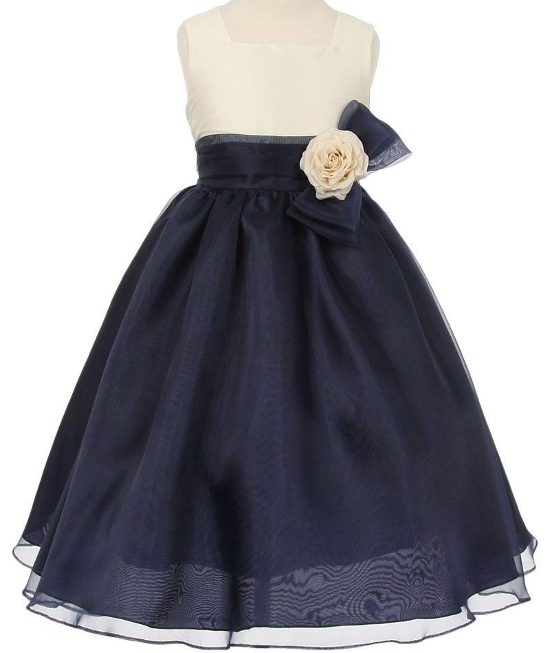 Childrensdressshop Com 10276 Lisbon Two Tone Flower Girl Dress In Ivory Navy J Organza Flower Girl Dress Flower Girl Dresses Navy Navy Blue Flower Girl Dresses
