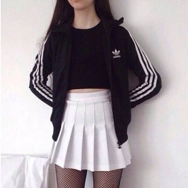 Skirt tumblr tumblr outfit grunge adidas skater skirt black dress black white dress ...