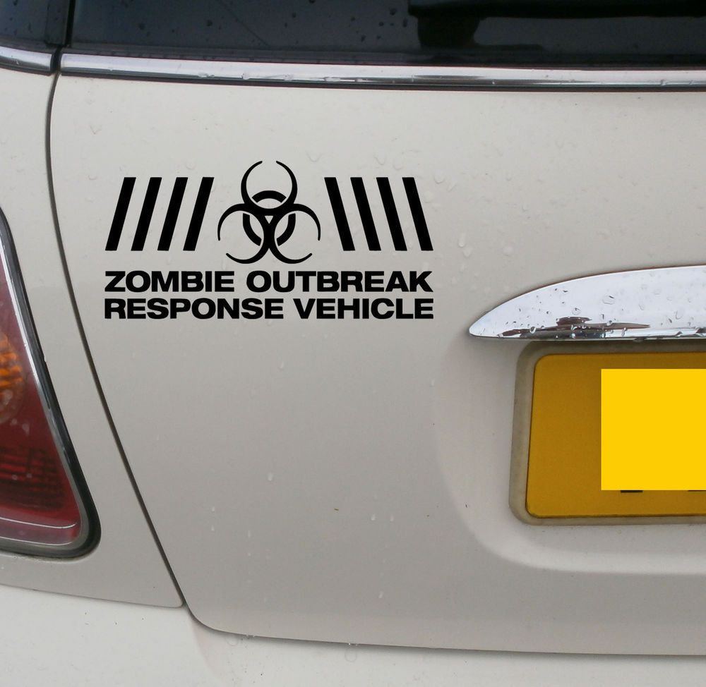 Zombie Outbreak Vehicle Funny Car Window Bumper Vw Euro Vinyl Decal Sticker 010 Funny Car Decals Zombie Vehicle Zombie [ 974 x 1000 Pixel ]