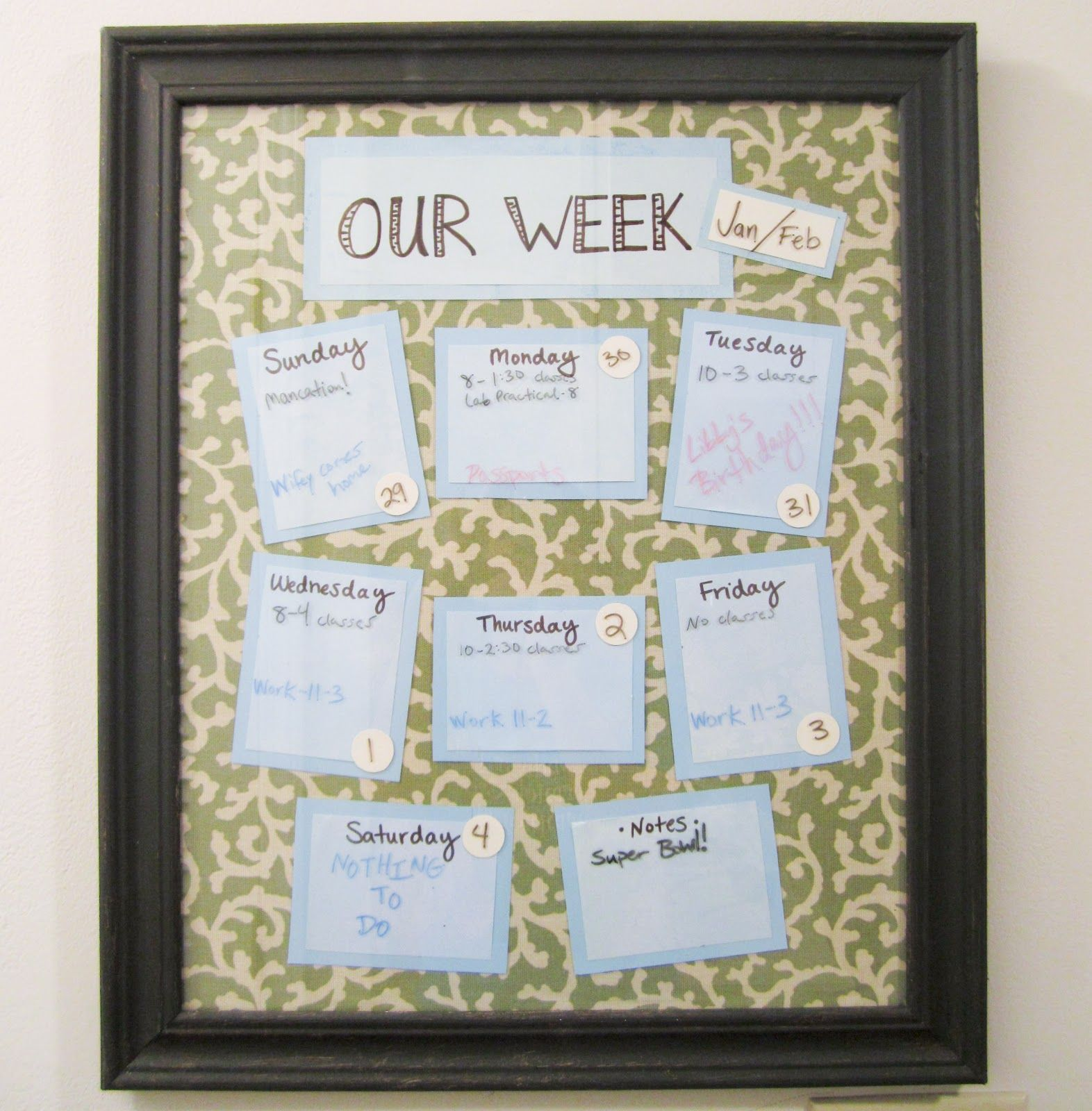 Diy Weekly Calendar Diy Calendar Crafty Decor Diy