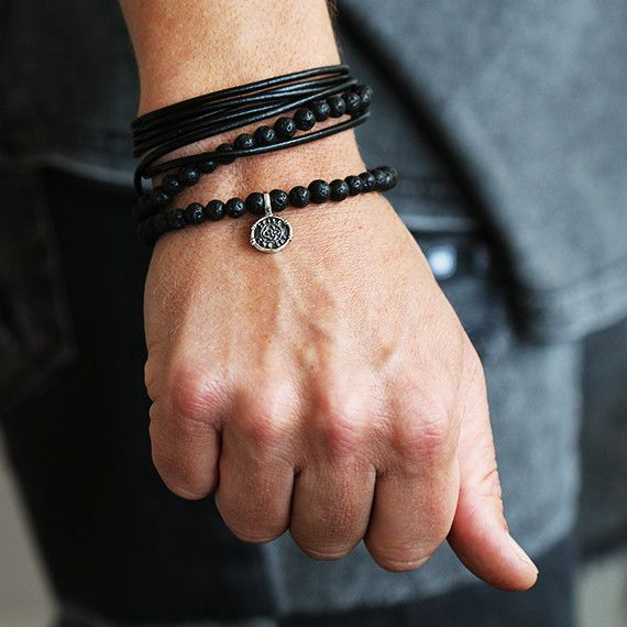 Carpe Diem Mens Sterling Silver Leather Bracelet