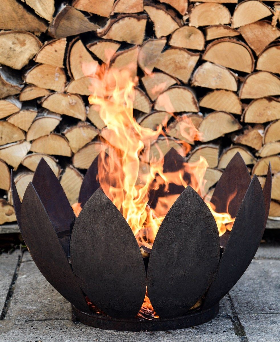Deluxe Flower Firepit In Rust Or Black Iron Fire Pit Fire Pit Cast Iron Fire Pit