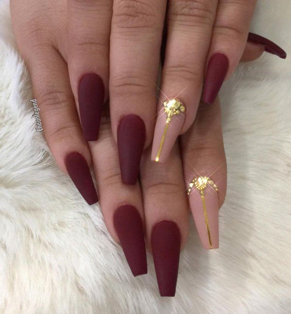 Deep Red Matte Finish Nude Pointer With Gold Accents Nails