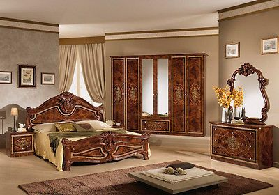 Italienisches Schlafzimmer Rokko Luxus 6 Tlg Bett Komplett Barock Walnuss