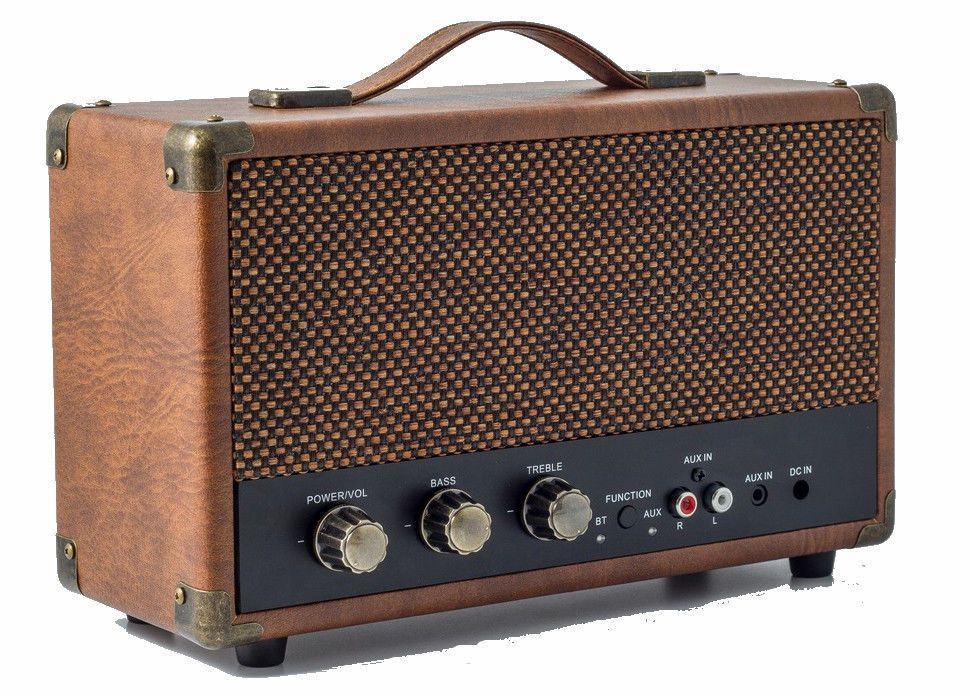GPO Westwood Portable Vintage Style Bluetooth Wireless Speaker - Brown 4797aef8bf934