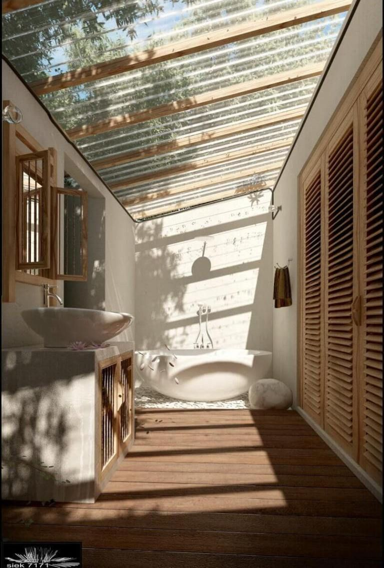 19 Semi Outdoor Bathroom With A See Through Roof Outdoor Bathroom Design Outdoor Bathrooms House Design