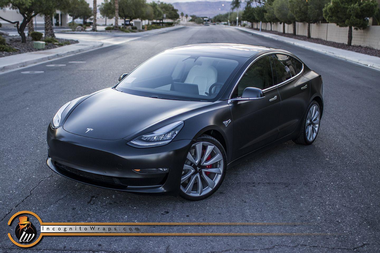 Tesla Model 3 Satin Black Incognito Wraps Tesla Model Tesla Model