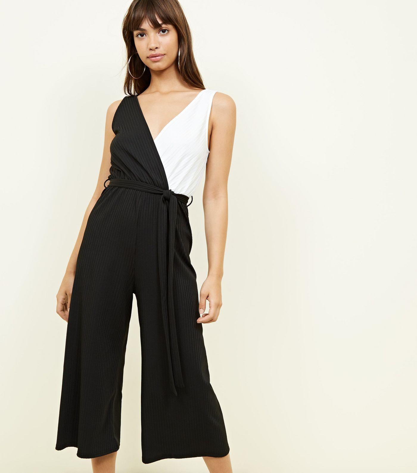 Black colour block ribbed wrap jumpsuit in clothes