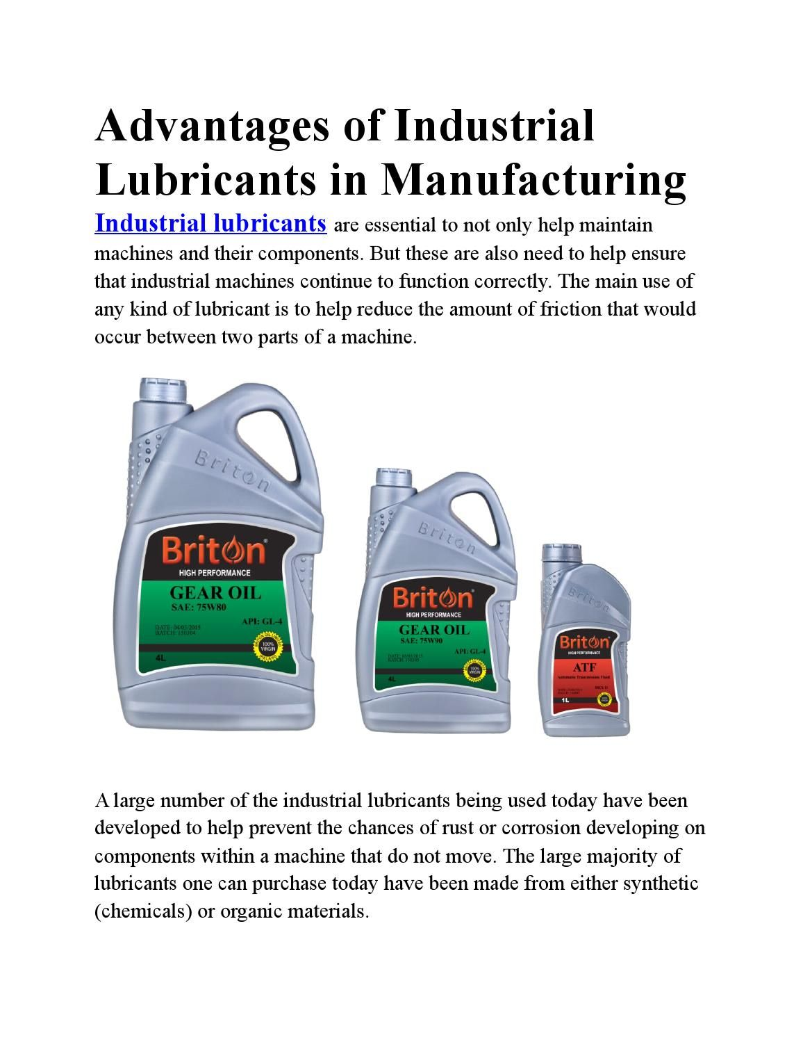 Advantages of industrial lubricants in manufacturing