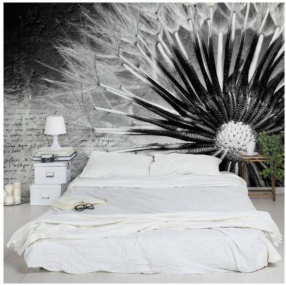 Photo of Picture Worlds fiori di carta da parati non tessuti larghi »dente di leone bianco e nero«