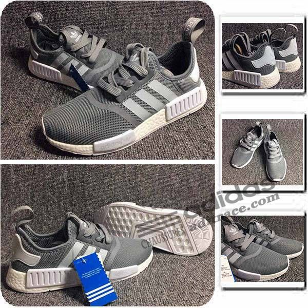 Adidas NMD_R1 Primeknit Prix Chaussure Homme Grise 5