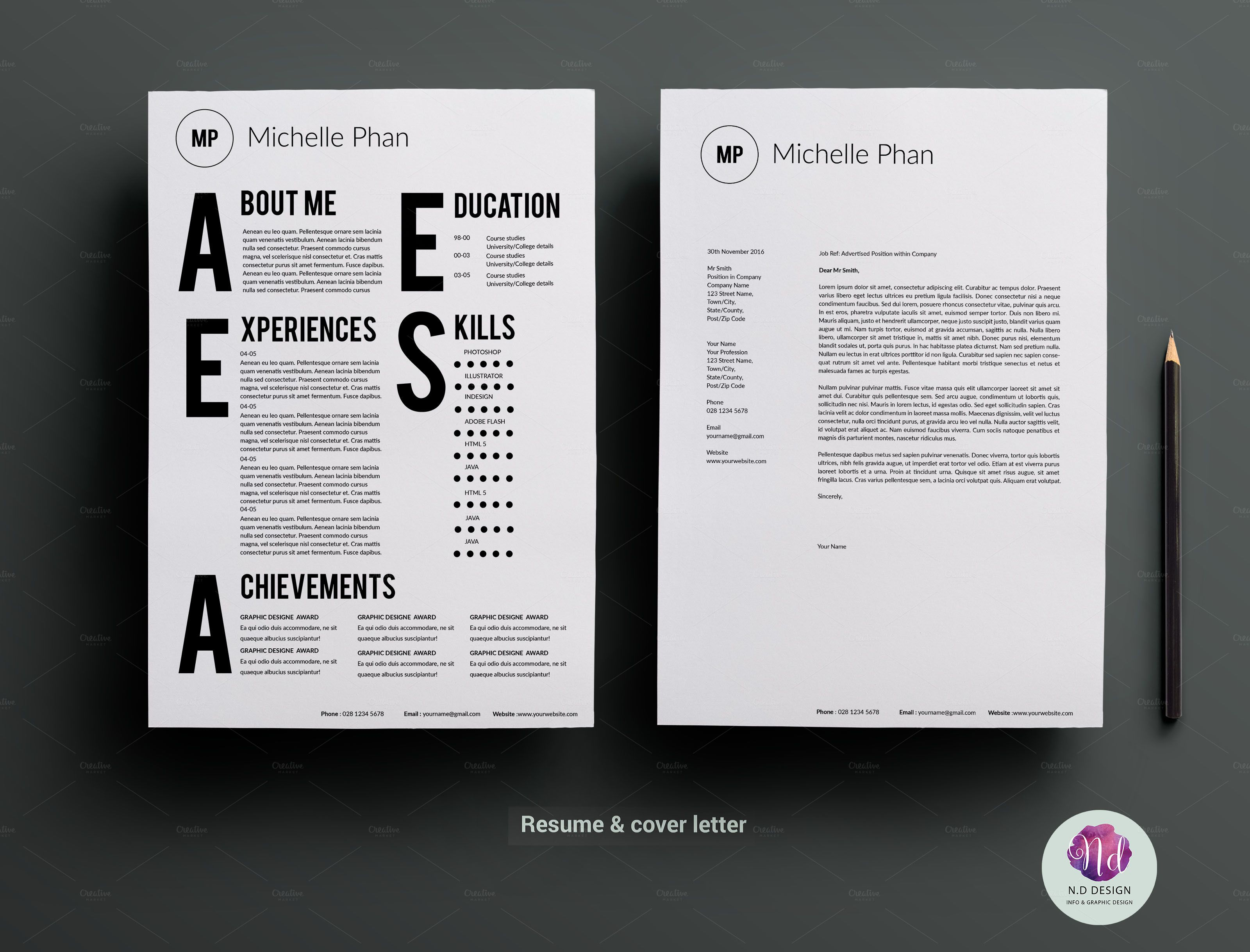 Cv template cover letter template resume design