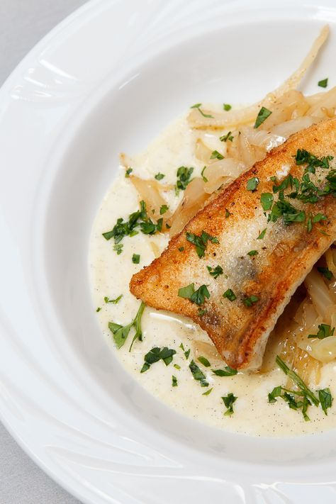 Photo of Fried zander, nut butter cabbage and Beurre Blanc with vanilla