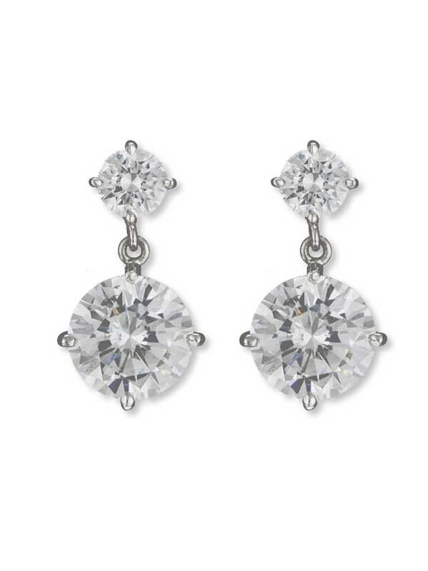 14k Gold Jumbo Estate Faux Diamond Earrings At Jennifer Miller