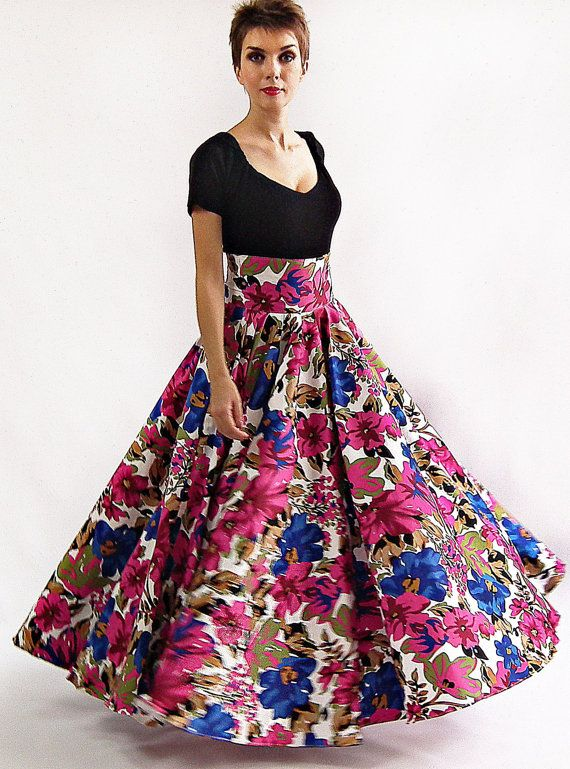 Maxi Skirt - Long Skirt, Floor length skirt, Floral skirt, Flower ...