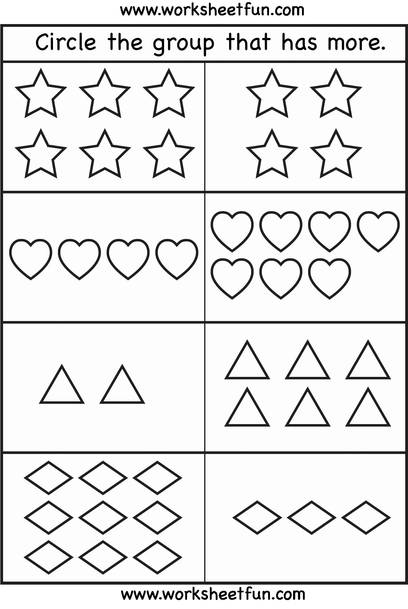 More Or Less Worksheets Preschool In