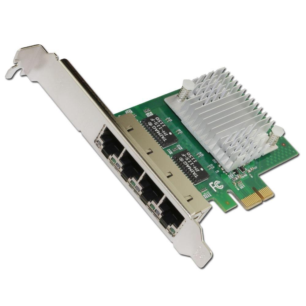 E350T4 PCI-E X1 Quad Port 10/100/1000Mbps Gigabit Ethernet