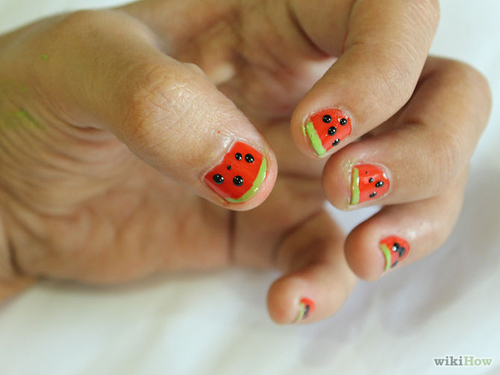 How to Paint Watermelon Nails: 9 Steps (with Pictures) - wikiHow spring,  tutorial,  diy,  #nail art